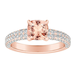 ALEXIA Classic Morganite Engagement Ring In 14K Rose Gold With 1.00 Carat Cushion Stone