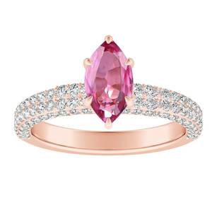 ALEXIA  Classic  Pink  Sapphire  Engagement  Ring  In  14K  Rose  Gold  With  0.50  Carat  Marquise  Stone