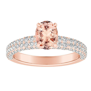 ALEXIA  Classic  Morganite  Engagement  Ring  In  14K  Rose  Gold  With  1.00  Carat  Oval  Stone
