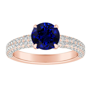 ALEXIA Classic Blue Sapphire Engagement Ring In 14K Rose Gold With 0.50 Carat Round Stone