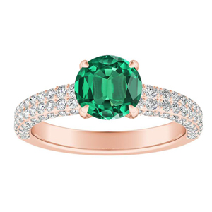 ALEXIA Classic Green Emerald Engagement Ring In 14K Rose Gold With 0.50 Carat Round Stone