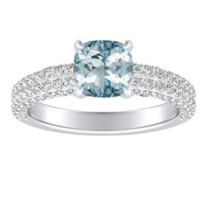 ALEXIA Classic Aquamarine Engagement Ring In 14K White Gold With 3.00 Carat Cushion Stone