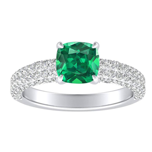 ALEXIA  Classic  Green  Emerald  Engagement  Ring  In  14K  White  Gold  With  0.50  Carat  Cushion  Stone
