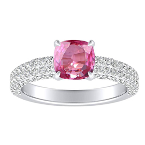 ALEXIA  Classic  Pink  Sapphire  Engagement  Ring  In  14K  White  Gold  With  0.50  Carat  Cushion  Stone