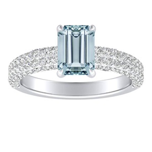 ALEXIA  Classic  Aquamarine  Engagement  Ring  In  14K  White  Gold  With  1.00  Carat  Emerald  Stone