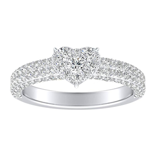 ALEXIA Classic Diamond Engagement Ring In 14K White Gold With Heart Diamond In H-I SI1-SI2 Quality