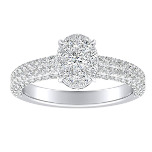 ALEXIA Classic Diamond Engagement Ring In 14K White Gold With Oval Diamond In H-I SI1-SI2 Quality