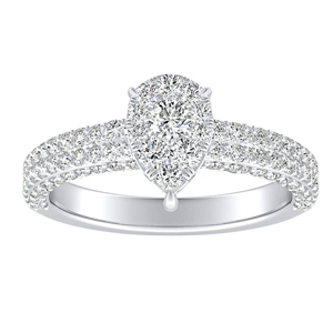 ALEXIA Classic Diamond Engagement Ring In 14K White Gold With Pear Diamond In H-I SI1-SI2 Quality