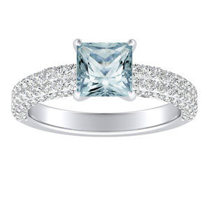 ALEXIA Classic Aquamarine Engagement Ring In 14K White Gold With 3.00 Carat Princess Stone