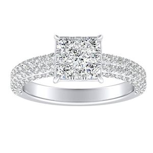 ALEXIA Classic Diamond Engagement Ring In 14K White Gold With Princess Diamond In H-I SI1-SI2 Quality