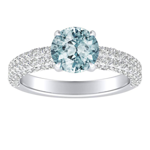 ALEXIA  Classic  Aquamarine  Engagement  Ring  In  14K  White  Gold  With  1.00  Carat  Round  Stone