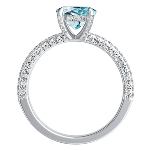 ALEXIA  Classic  Aquamarine  Wedding  Ring  Set  In  14K  White  Gold  With  1.00  Carat  Round  Stone