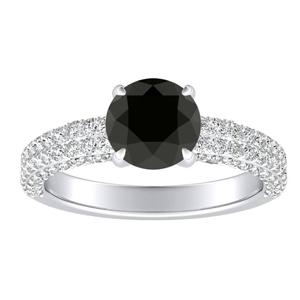 ALEXIA Classic Black Diamond Engagement Ring In 14K White Gold With 1.00 Carat Round Diamond