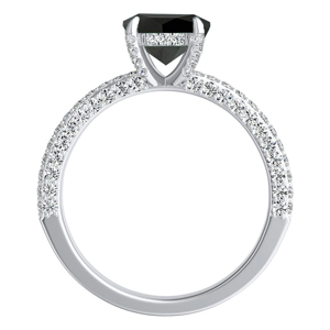 ALEXIA  Classic  Black  Diamond  Engagement  Ring  In  14K  White  Gold  With  1.00  Carat  Princess  Diamond