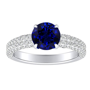ALEXIA  Classic  Blue  Sapphire  Engagement  Ring  In  14K  White  Gold  With  0.50  Carat  Round  Stone