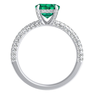 ALEXIA  Classic  Green  Emerald  Engagement  Ring  In  14K  White  Gold  With  0.50  Carat  Emerald  Stone