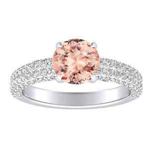 ALEXIA Classic Morganite Engagement Ring In 14K White Gold With 1.00 Carat Round Stone