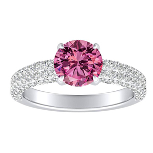 ALEXIA Classic Pink Sapphire Engagement Ring In 14K White Gold With 0.30 Carat Round Stone