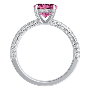 ALEXIA  Classic  Pink  Sapphire  Wedding  Ring  Set  In  14K  White  Gold  With  0.50  Carat  Round  Stone