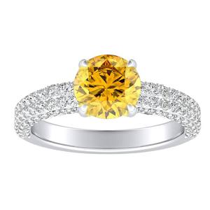 ALEXIA  Classic  Yellow  Diamond  Engagement  Ring  In  14K  White  Gold  With  0.50  Carat  Round  Diamond