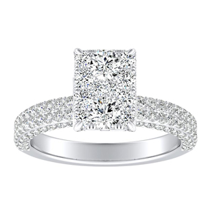 ALEXIA Classic Diamond Engagement Ring In 14K White Gold With Radiant Diamond In H-I SI1-SI2 Quality