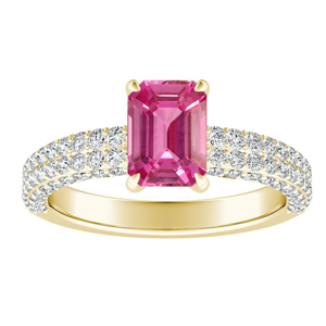 ALEXIA Classic Pink Sapphire Engagement Ring In 14K Yellow Gold With 0.50 Carat Emerald Stone