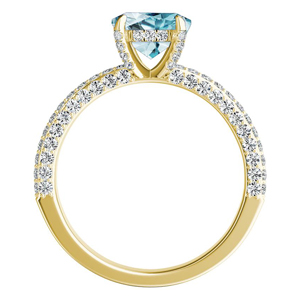 ALEXIA  Classic  Aquamarine  Engagement  Ring  In  14K  Yellow  Gold  With  1.00  Carat  Pear  Stone