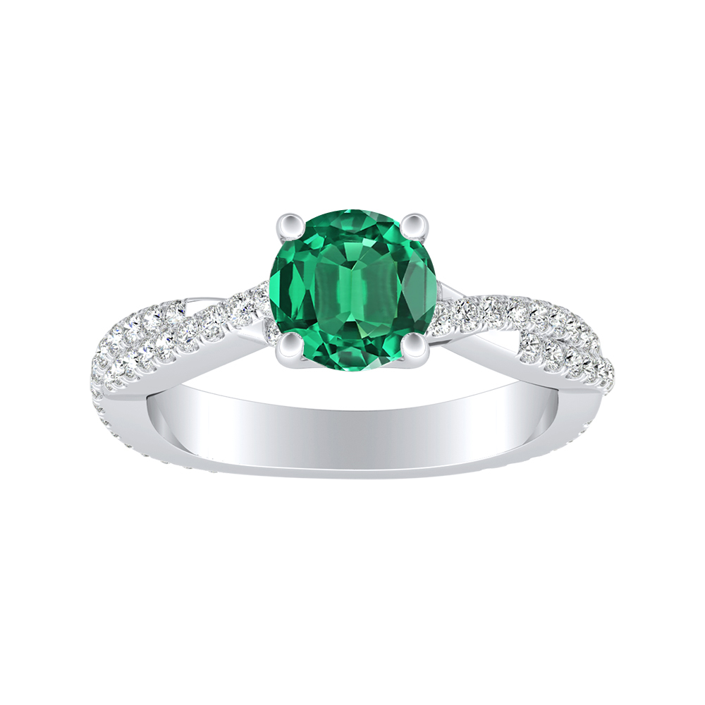 CALLIE Twisted Green Emerald Engagement Ring In 14K White Gold With 0.50 Carat Round Stone