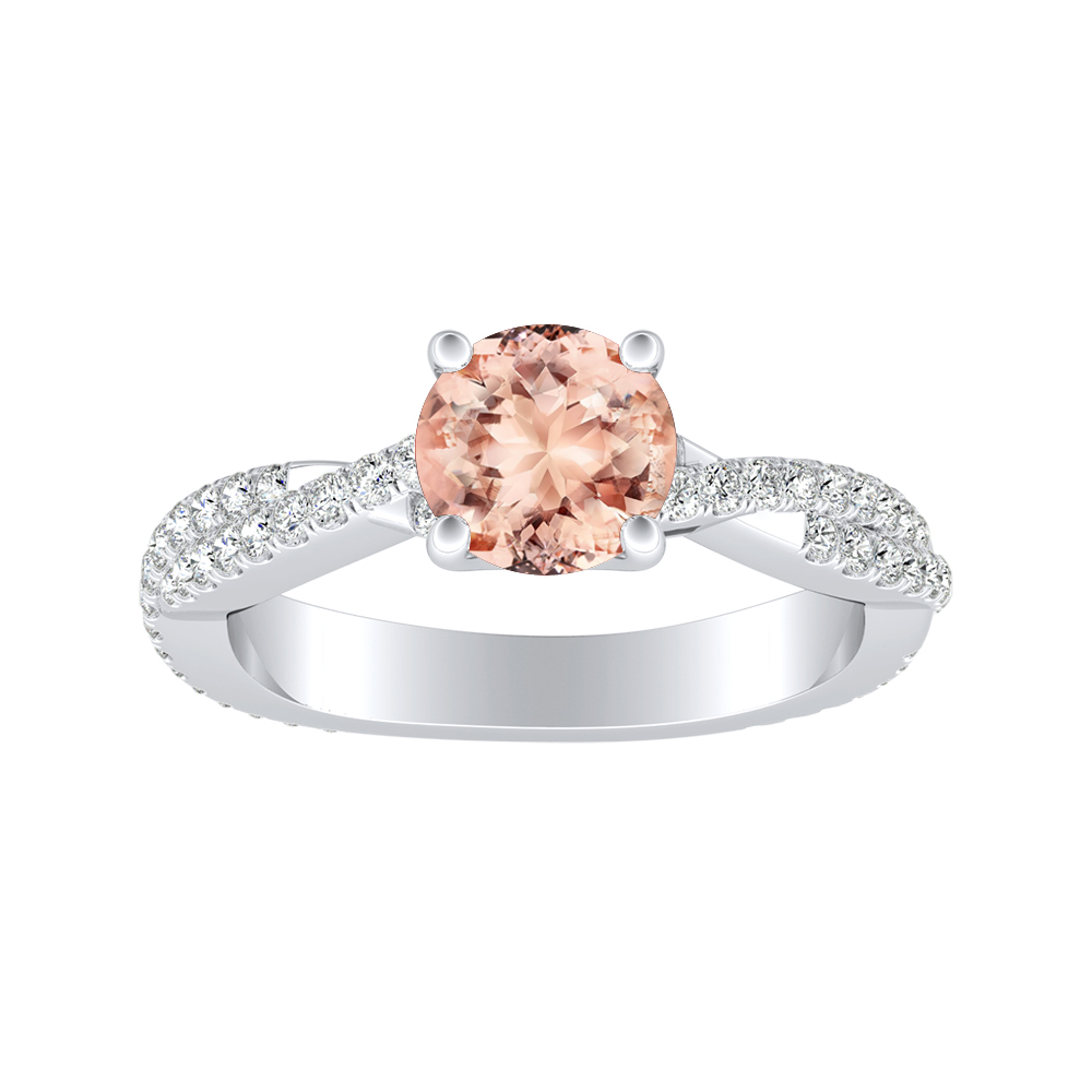 CALLIE Twisted Morganite Engagement Ring In 14K White Gold With 1.00 Carat Round Stone
