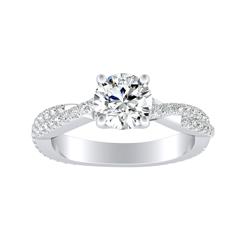 CALLIE Twisted Diamond Engagement Ring In 14K White Gold