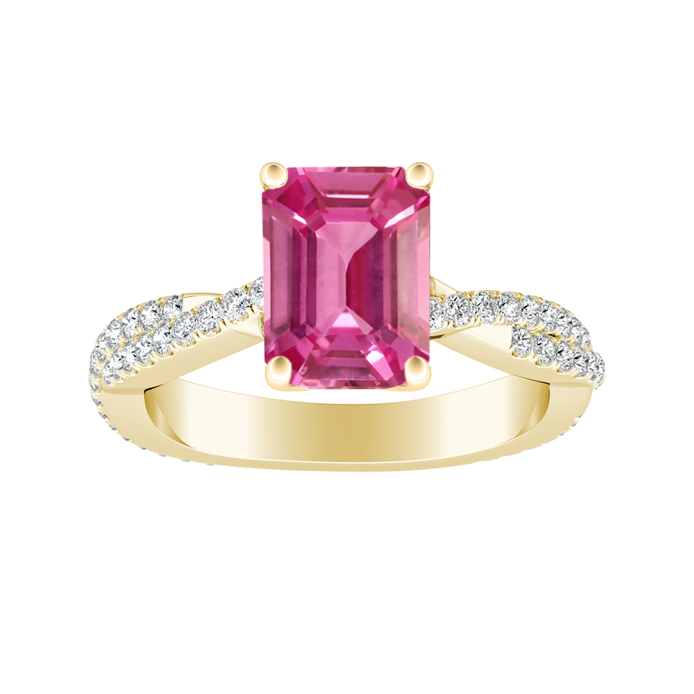 CALLIE Twisted Pink Sapphire Engagement Ring In 14K Yellow Gold With 0.50 Carat Emerald Stone