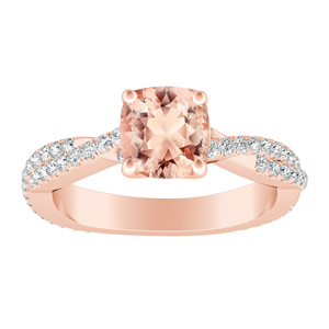 CALLIE Twisted Morganite Engagement Ring In 14K Rose Gold With 1.00 Carat Cushion Stone