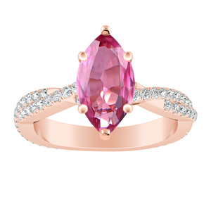 CALLIE  Twisted  Pink  Sapphire  Engagement  Ring  In  14K  Rose  Gold  With  0.50  Carat  Marquise  Stone