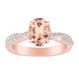 CALLIE  Twisted  Morganite  Engagement  Ring  In  14K  Rose  Gold  With  1.00  Carat  Oval  Stone