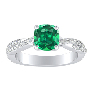 CALLIE  Twisted  Green  Emerald  Engagement  Ring  In  14K  White  Gold  With  0.50  Carat  Cushion  Stone