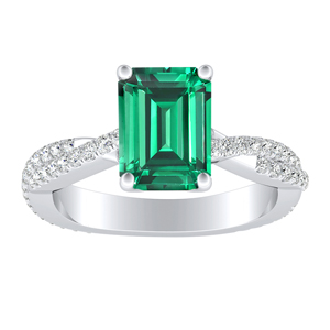 CALLIE  Twisted  Green  Emerald  Engagement  Ring  In  14K  White  Gold  With  0.50  Carat  Emerald  Stone