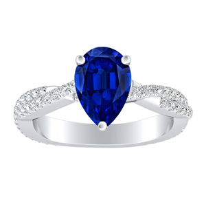 CALLIE  Twisted  Blue  Sapphire  Engagement  Ring  In  14K  White  Gold  With  0.50  Carat  Pear  Stone