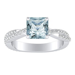 CALLIE  Twisted  Aquamarine  Engagement  Ring  In  14K  White  Gold  With  1.00  Carat  Princess  Stone