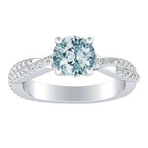 CALLIE  Twisted  Aquamarine  Engagement  Ring  In  14K  White  Gold  With  1.00  Carat  Round  Stone