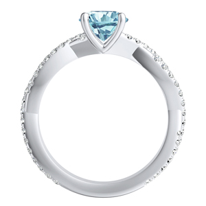 CALLIE  Twisted  Aquamarine  Wedding  Ring  Set  In  14K  White  Gold  With  1.00  Carat  Princess  Stone