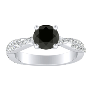 CALLIE Twisted Black Diamond Engagement Ring In 14K White Gold With 0.50 Carat Round Diamond