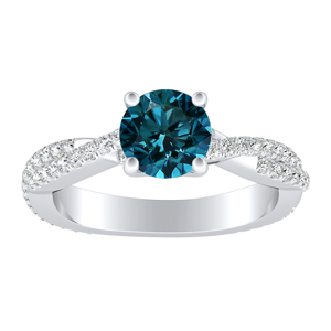 CALLIE  Twisted  Blue  Diamond  Engagement  Ring  In  14K  White  Gold  With  0.50  Carat  Round  Diamond
