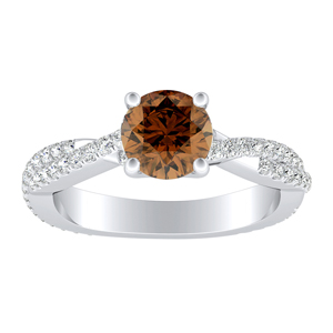 CALLIE  Twisted  Brown  Diamond  Engagement  Ring  In  14K  White  Gold  With  0.50  Carat  Round  Diamond
