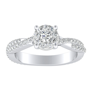 CALLIE Twisted Diamond Engagement Ring In 14K White Gold With 0.25 Carat Round Diamond In H-I SI1-SI2 Quality