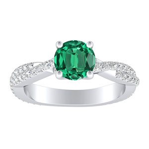 CALLIE Twisted Green Emerald Engagement Ring In 14K White Gold With 0.30 Carat Round Stone