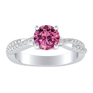 CALLIE  Twisted  Pink  Sapphire  Engagement  Ring  In  14K  White  Gold  With  0.50  Carat  Round  Stone