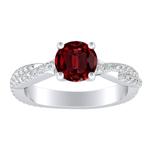 CALLIE  Twisted  Ruby  Engagement  Ring  In  14K  White  Gold  With  0.50  Carat  Round  Stone