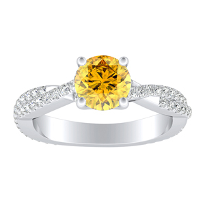 CALLIE  Twisted  Yellow  Diamond  Engagement  Ring  In  14K  White  Gold  With  0.50  Carat  Round  Diamond
