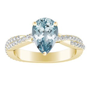 CALLIE  Twisted  Aquamarine  Engagement  Ring  In  14K  Yellow  Gold  With  1.00  Carat  Pear  Stone