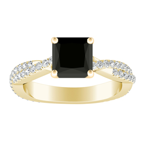 CALLIE Twisted Black Diamond Engagement Ring In 14K Yellow Gold With 1.00 Carat Princess Diamond
